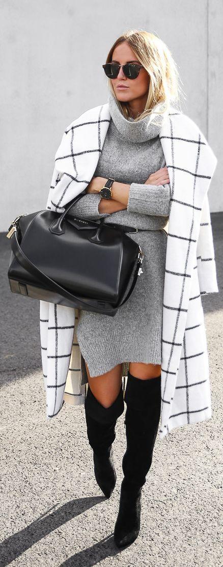 Модное женское пальто в клетку весны 2016