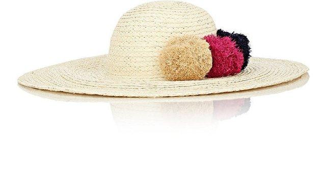 Помпоны – тренд сезона соломенная шляпка украшенная тампоном.