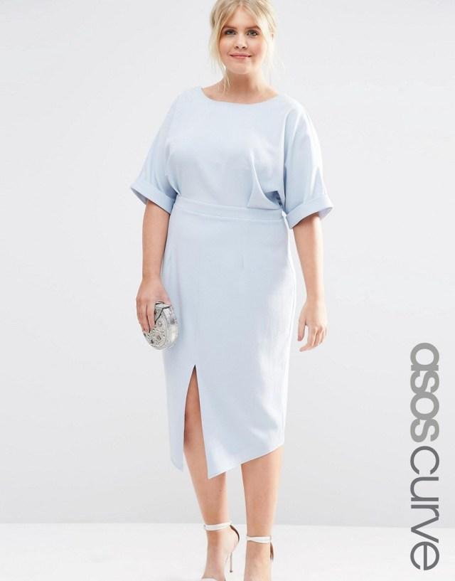 Мода для полных весна-лето 2016 голубое платье.