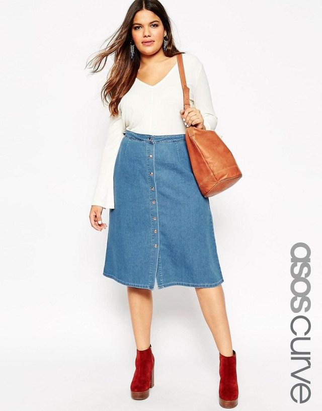 Мода для полных женщин весна-лето 2016 - кофта с джинсовой юбкой..