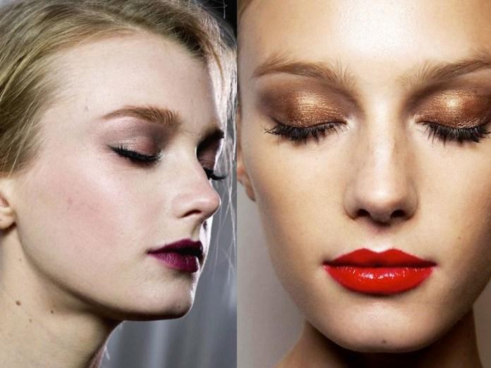 Насыщенный красный и бордовый цвет идеально сочетаются с отсутствием макияжа.