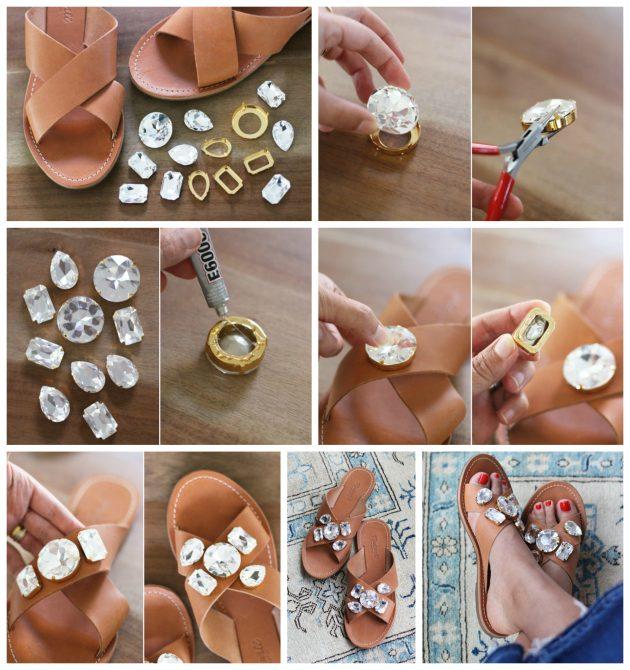 Новый способ, украсить сандалии своими руками - изучить целую подборку руководств в картинках.