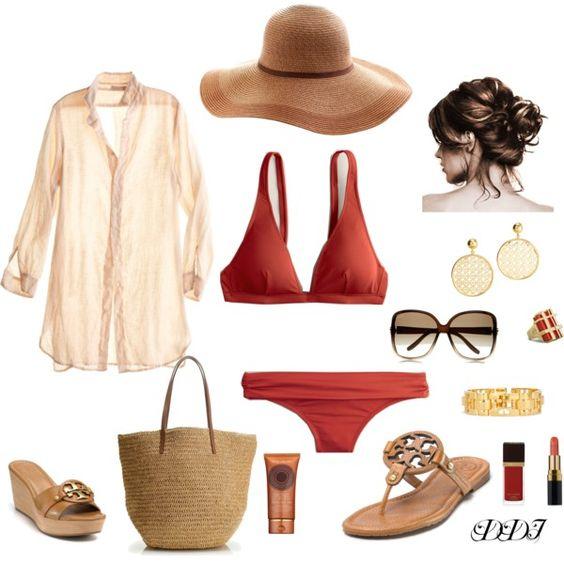На фото: модный лук для знойного лета купальник - купальник, рубашка, сандали, шляпка и очки.