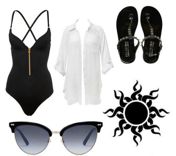 На фото: модный лук для знойного летакупальник - купальник,легкая рубашка, сандалии и очки.