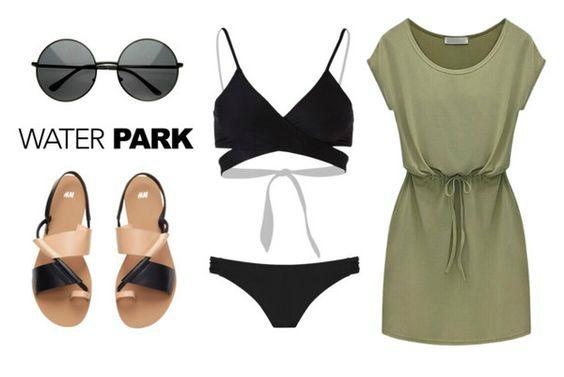 На фото: модный лук для знойного лета - купальник, короткое платье, сандалии, очки.