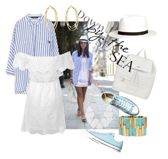 На фото: новый летнихй лук в морском стиле - полосатая юбка самый простой способ быть в тренде.