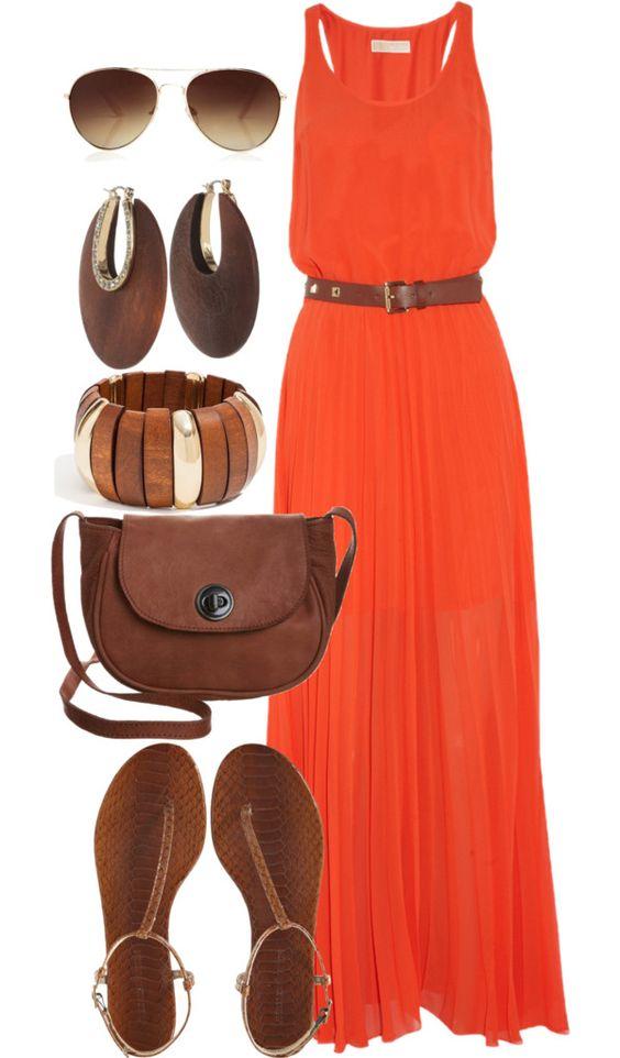 На фото: новы1 лук с длинным оранжевым платьем.