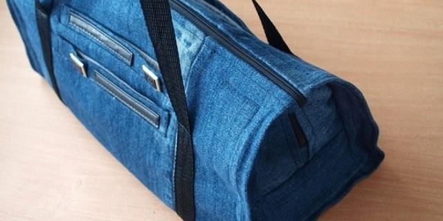 На фото: аксессуары из старых джинсов - сумка.