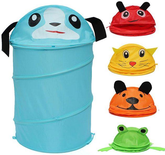 Складной мешок для игрушек, оформленный ярким дизайном детской тематики