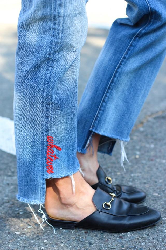 Простой способ, как украсить джинсы вышивкой