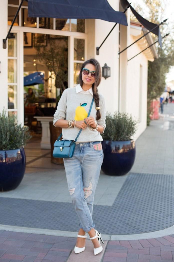 Интересный наряд. Серая веселая модная кофта 2017 с грушей и рубашкой и модными свободными джинсами