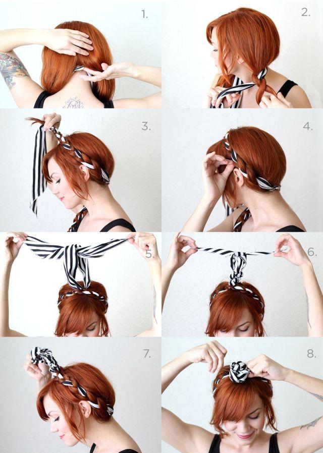 Причёска на средние волосы с вплетенной повязкой