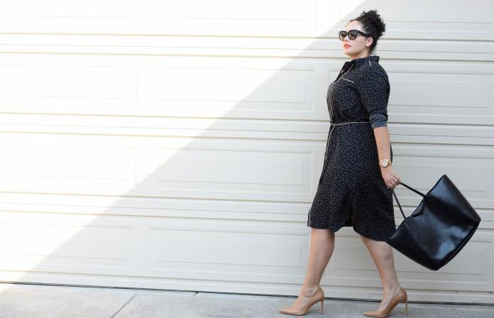 Модное черное платье с мелким принтом 2017 для полных - фото обзор.