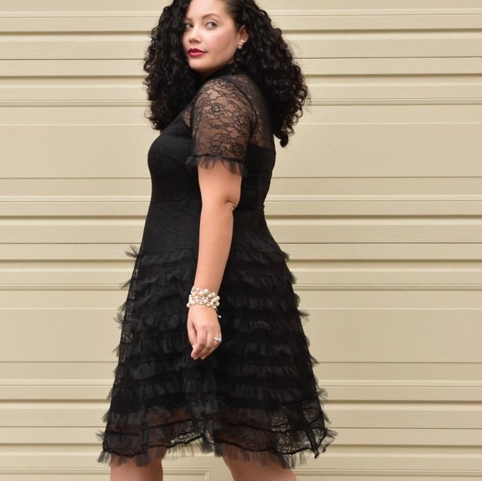 Модное черное платье из шифона 2017 для полных - фото обзор.