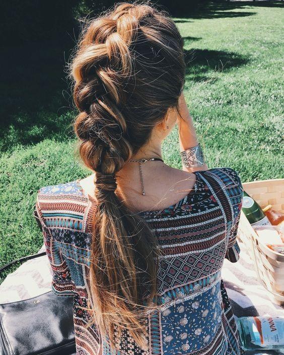 Причёска № 6: объёмная французская коса с хвостом