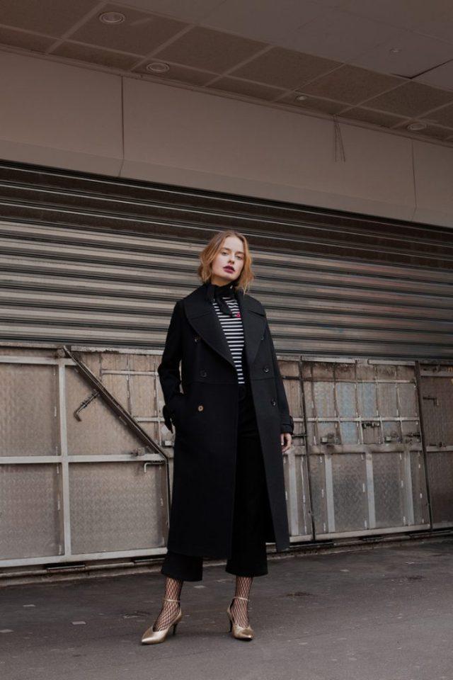 Модное пальто 2017 - двубортное пальто черного цвета - фото обзор коллекции I AM Studio.