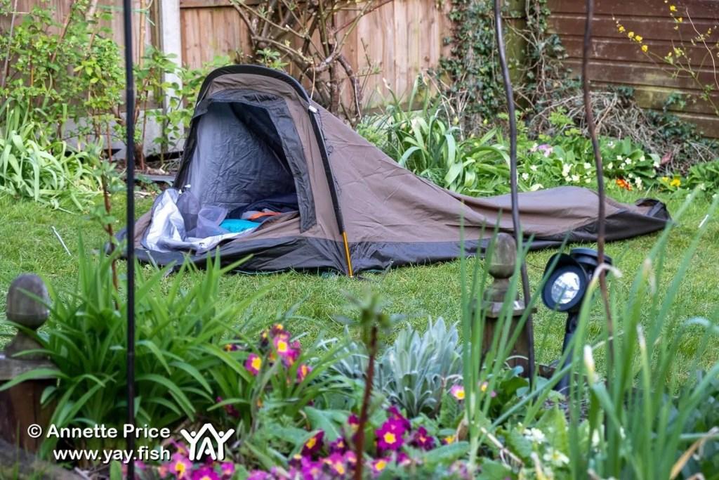 Garden camping using a Rab Ridge Raider bivi.