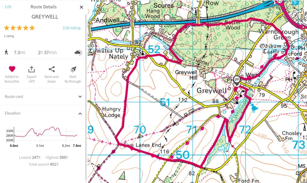 OS map showing Greywell walk