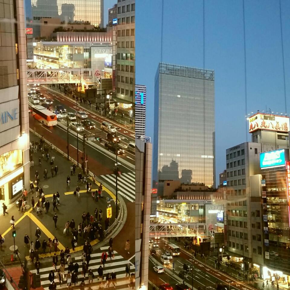 2016年末に新宿占い館の鑑定室から撮影した新宿駅南口前