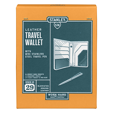 Stanley Tools – Black & Tan Leather Travel Wallet with Pen in Gift Box