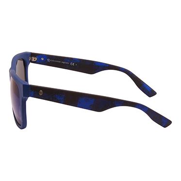 Alexander McQueen – Matt Blue Rectangular Lumberjack Classic Sunglasses with Case