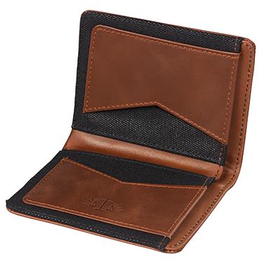 Gentlemen's Hardware – Tan Leather Bi-Fold Wallet with Black Canvas in Gift Box