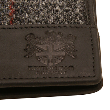 The British Bag Company – Berneray Harris Tweed Wallet with Black Leather Trim