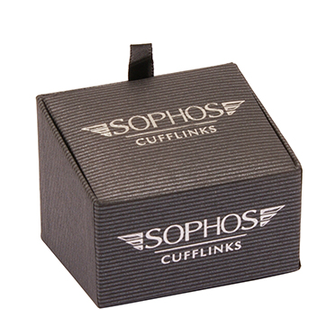 Sophos – Polished Silver with Black Enamel Checked Cufflinks in Gift Box
