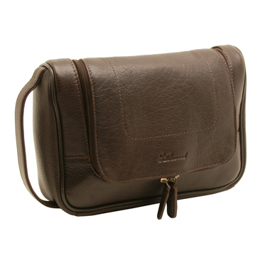 Ashwood – Brown Westminster Hanging Wash Bag in Natural Cow Tumble Leather