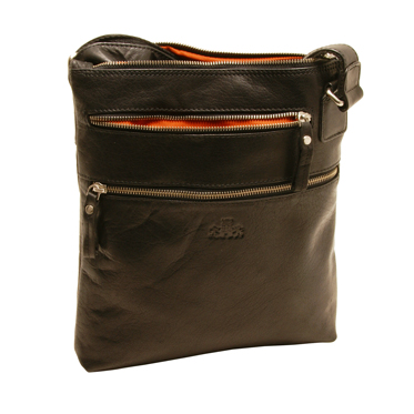 Rowallan – Black Pittsburgh Zip Sectioned Messenger Bag in Oil Tanned Cowhide Leather