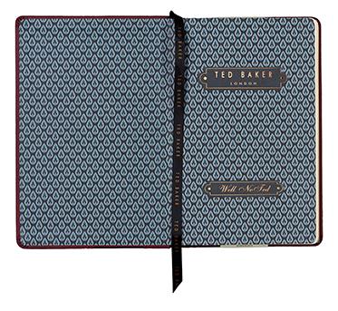 Ted Baker – A5 Medium Burgundy Red Brogue Textured Notebook