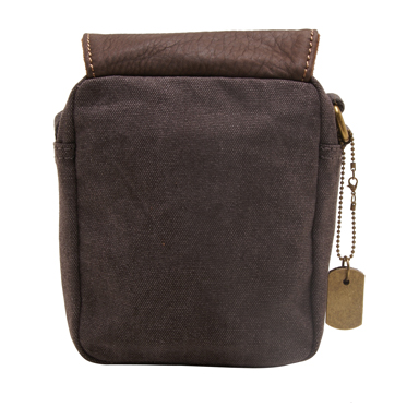 Troop London – Small Black Heritage Across Body Messenger Bag in Canvas-Leather