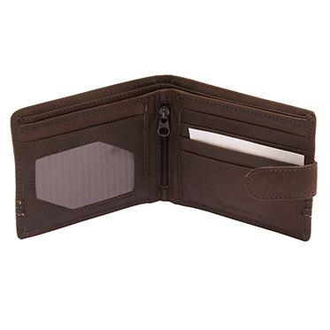 Sophos – Brown Leather Tab Wallet with Colour Stitch in Gift Box
