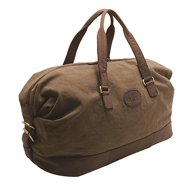 Rowallan Khaki Canvas Travel Holdall with Leather Trim and Shoulder Strap