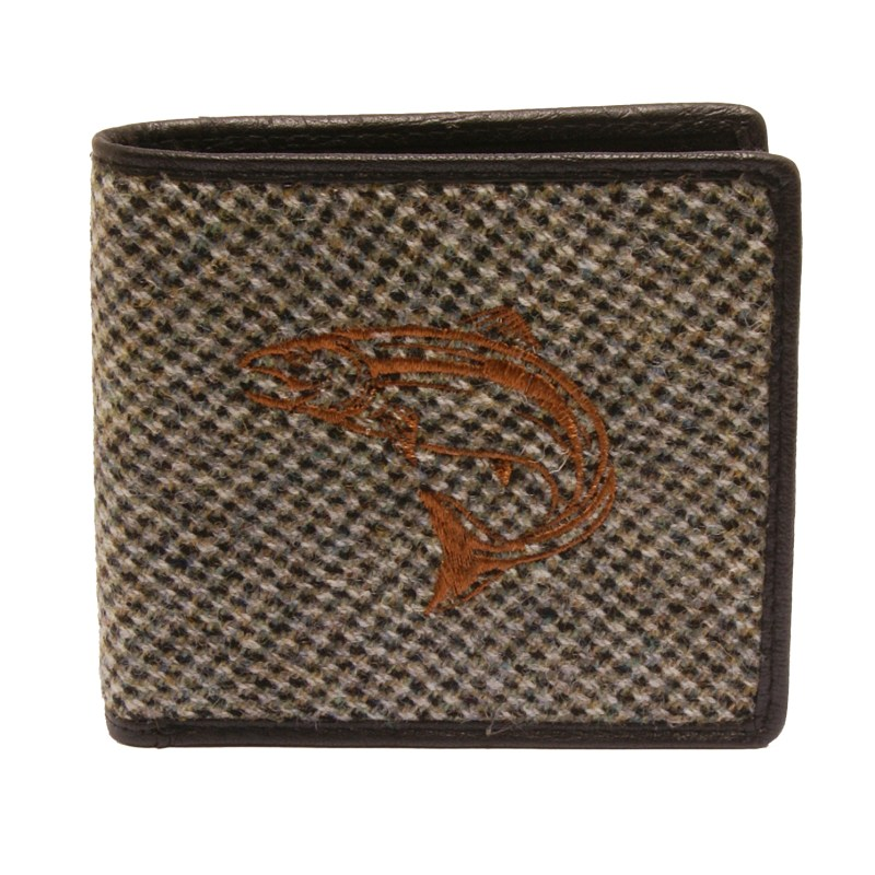 PellMell – Islay Tweed Coin Purse Wallet with Salmon Design & Black Leather Trim