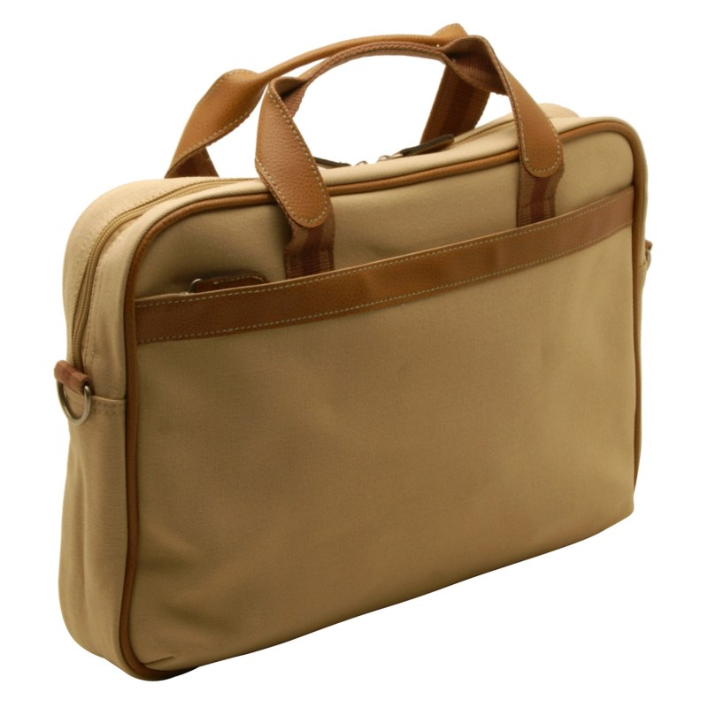 Home Works – Cream Canvas Laptop Briefcase Style Bag with Shoulder Strap