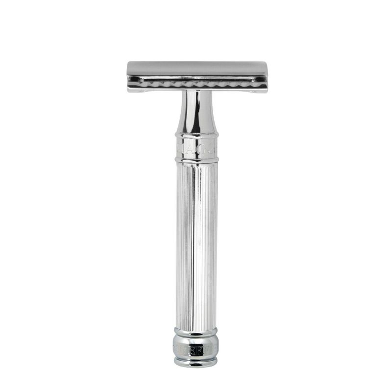 Edwin Jagger – Chrome Lined DE Safety Razor with Feather Blade in Gift Box