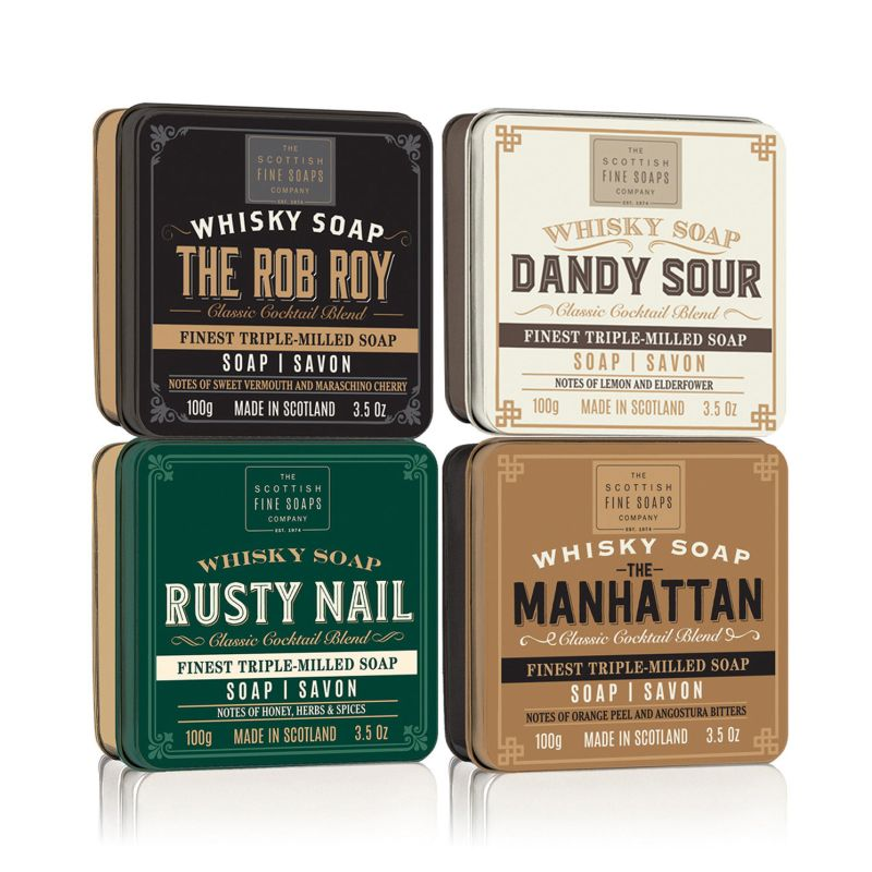 The Scottish Fine Soaps Company – Set of 4 Whisky Cocktail Soaps in Gift Tins