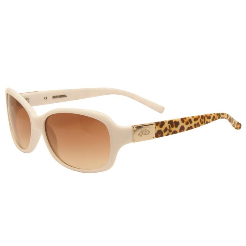 Harley Davidson – Shiny White & Animal Print Classic Style Sunglasses with Case