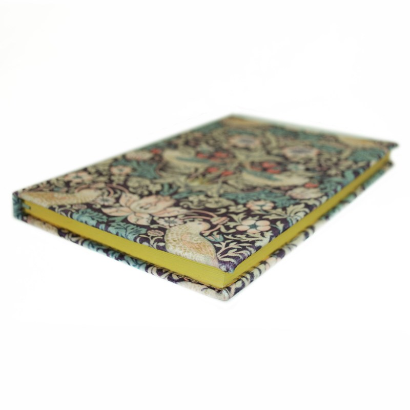 Morris & Co – Strawberry Thief Print Velvet Covered A5 Notebook with Gilt Edge
