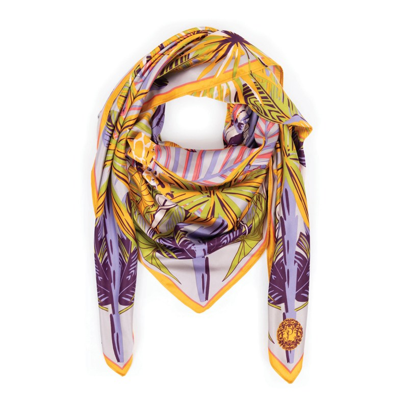 Powder – Elephant Parade Satin Square Scarf with Powder Presentation Gift Bag