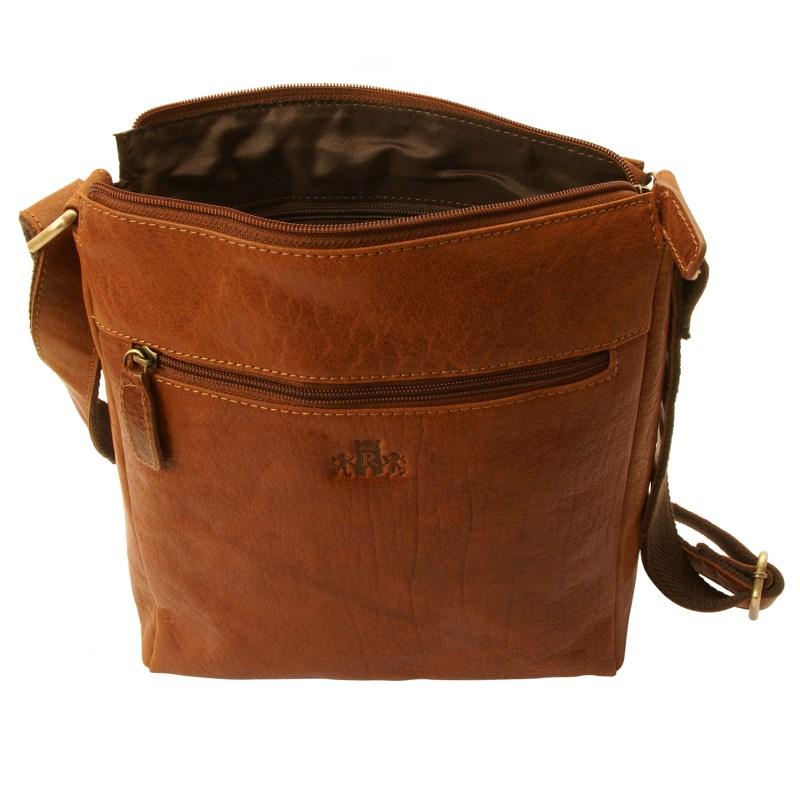 Rowallan – Tan Veneer North/South Top Zip Messenger Bag in Buffalo Leather