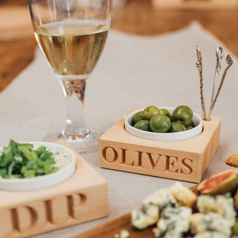 Culinary Concepts – 'Olives' Beech Wood Holder with Porcelain Dish & Picks