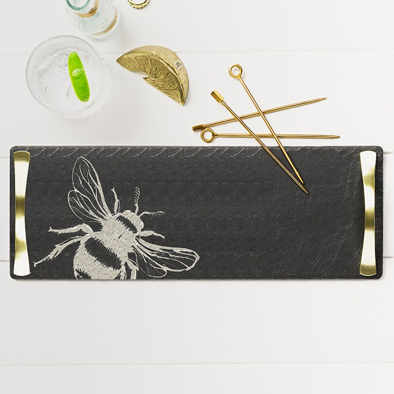 The Just Slate Company – Bee Slate Serving Tray with Gold Coloured Handles