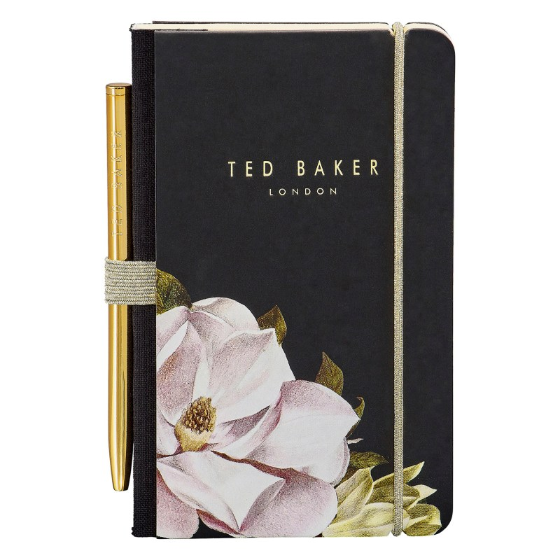Ted Baker – Black Opal Floral A7 Mini Notebook and Gold Ballpoint Pen