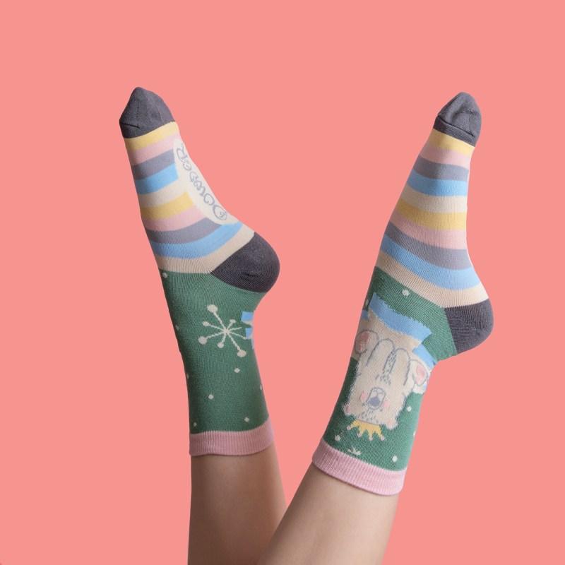 Powder – Moss Green King Bear Ankle Socks with Presentation Gift Bag
