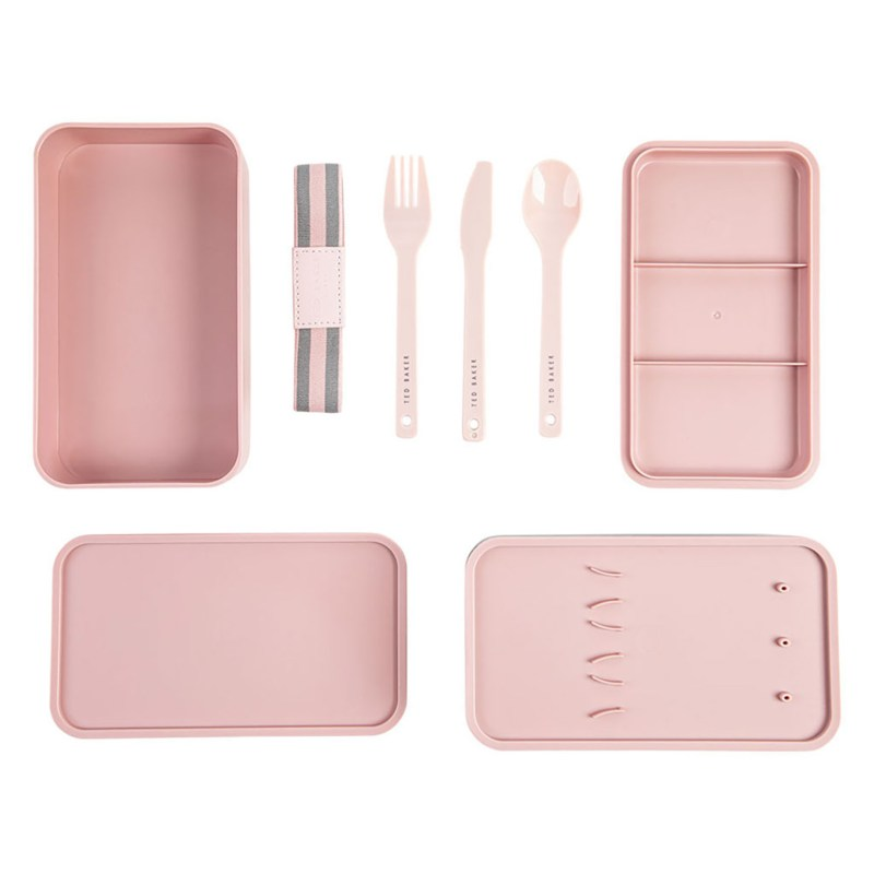 Ted Baker – Dusky Pink Two-Tier Stackable Lunch Box with Cutlery