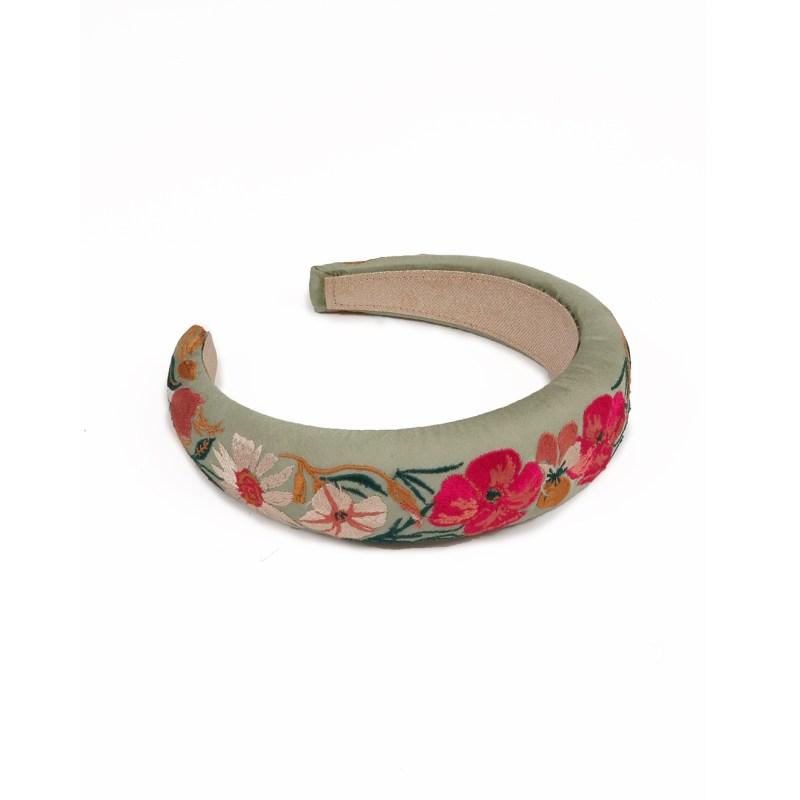 Powder – Mint Country Garden Padded Headband with Powder Presentation Gift Bag