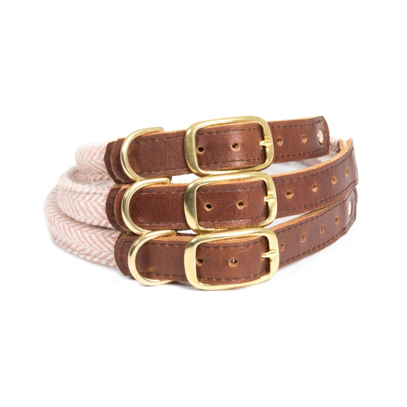 Tweedmill – Dusky Pink Herringbone Rolled Tweed Medium Dog Collar