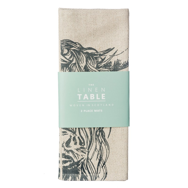 The Just Slate Company – 2 Highland Cow Linen Place Mats